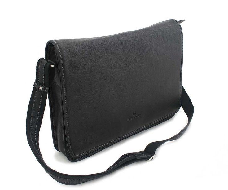 """#hexagona #taška Celokožená černá taška Hexagona s klopou, z velmi kvalitní pravé kůže. Hlavní přihrádka na zip, dále kapsy na drobnosti + jedna kapsa se zipem. Zepředu pod klopnou kapsa bez zipu a kapsa na zip. Zezadu kapsa na zip. Nastavitelný popruh (kombinace textil-kůže) max. délka 141 cm. A4 ano, notebook 13"""". Materiál - hovězí kůže."""