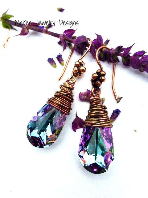 Wire Wrapped Lilac Swarovski Teardrops, copper wire, crystal, copper detail earring wires. McKee Jewelry Designs