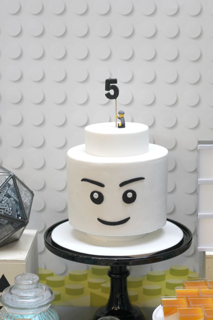 Minifigure head cake. Click through for lots of other treats — the minimal palette is gorgeous!