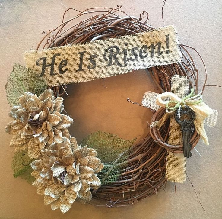 Primitive Grapevine Wreath Twig He Is Risen Cross Key Easter Spring Burlap Flower New | eBay