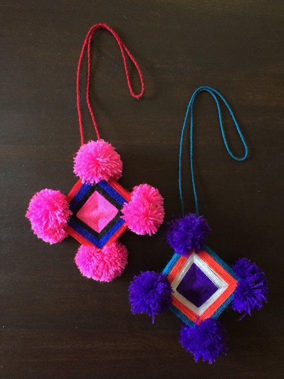 Small Mexican Huichol Indian Ojo de Dios Religious Wall Hanging 4x4 Purple Pink