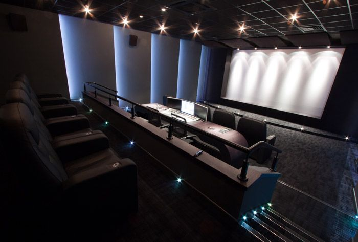 Quantel Cinema room. 3rdEdition manufactured and installed the 4 metre curved Editing desk.
