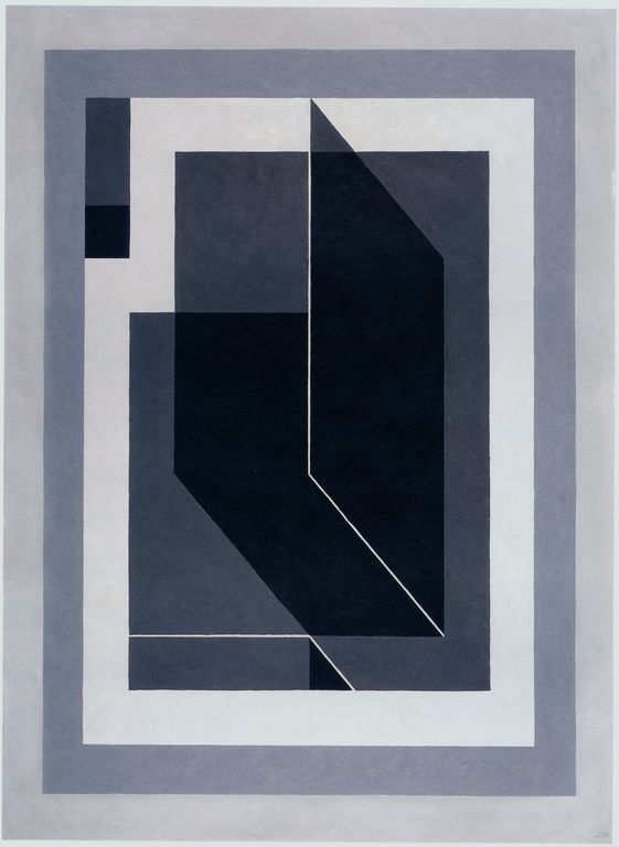 """Josef Albers """"Bent Black A"""", 1940 (USA, Abstract Art / Hard Edge Painting, 20th cent.)"""