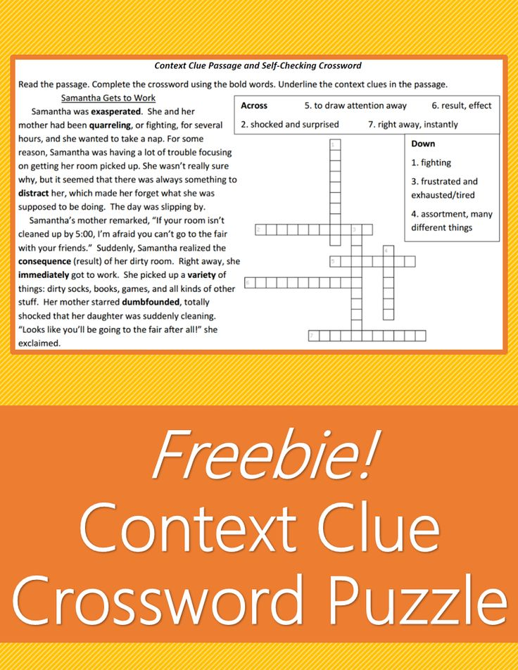 FREE passage filled with context clues for students to determine the meaning of 7 new vocabulary words. Read the passage, then complete the crossword puzzle with the vocab.  Self-checking homework.