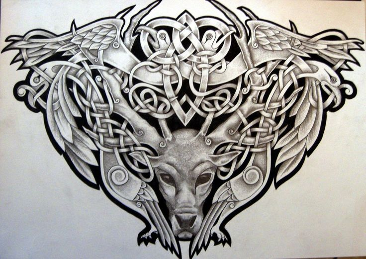celtic raven wolf bear tattoo celtic stag and birds by tattoo design on deviantart fun. Black Bedroom Furniture Sets. Home Design Ideas
