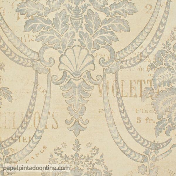 Papel Pintado Paris RS70605 con fondo beige y dibujo de medallones en azul grisáceo, acompañado por palabras escritas encima del dibujo en color marrón. Todos los elementos del papel aparecen con apariencia desgastada para aportar antigüedad al diseño.