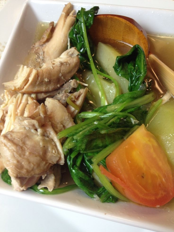 Chicken Tinola, Filipino Stew in Ginger Broth with Chayote and Water Spinach cooked in rice wash on http://asianinamericamag.com