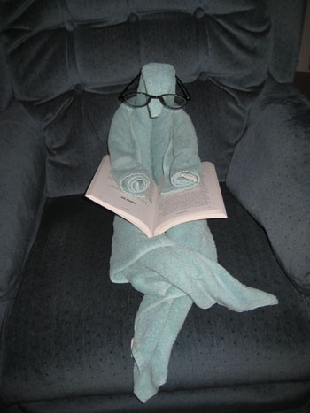 Check out what was reading my book when I got home. Towel origami creation from http://foldingmagic.com . Uses one bath towel and one hand towel.