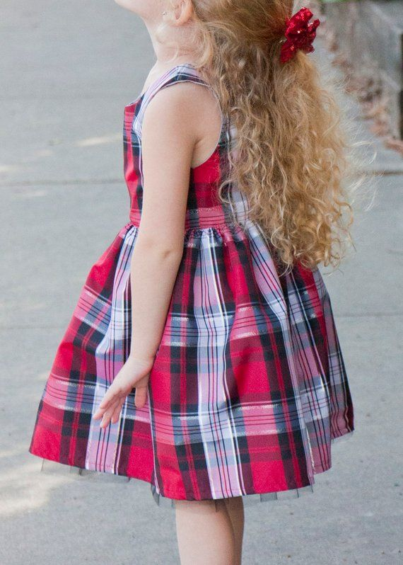 81dc3de5ba0ae Toddler Girl Christmas Dress, Silver and Red Plaid Dress, Classic ...