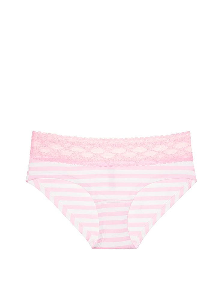 Lace-waist Hiphugger Panty in  Pink Stripe- Cotton Lingerie - Victoria's Secret