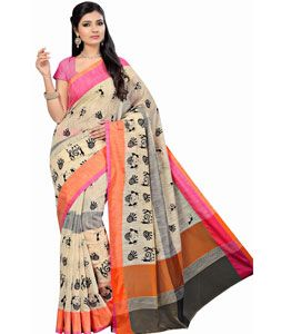 Buy Beige Cotton Saree With Blouse 71573 with blouse online at lowest price from vast collection of sarees at Indianclothstore.com.