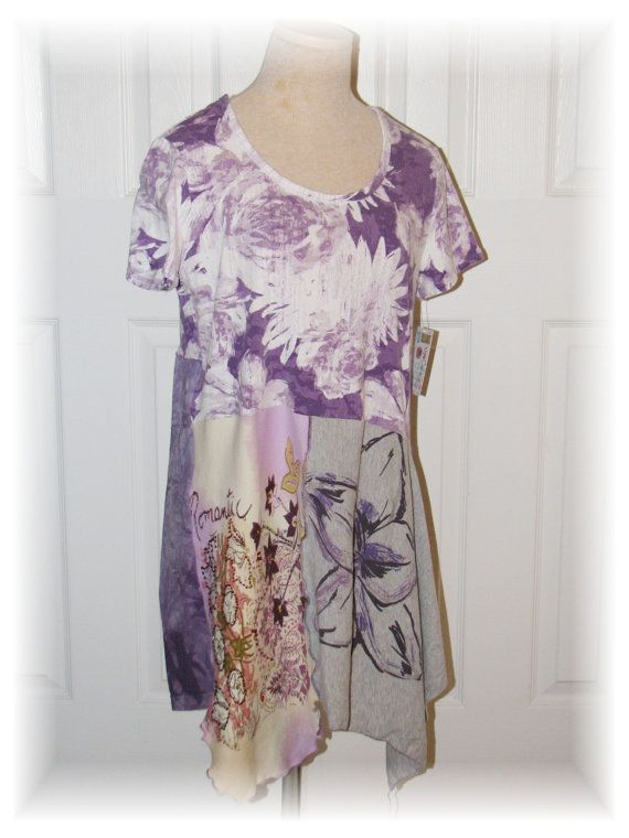 Size Med/ Upcycled/Purple Floral Tee / tunic / women's by upCdooZ, $46.00
