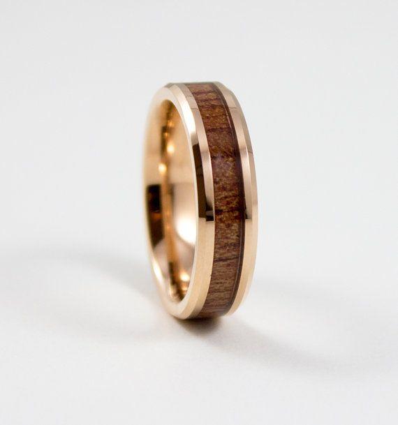 Men's Wedding Band Rose Gold Hawaiian Koa Wood by AlphaTungsten