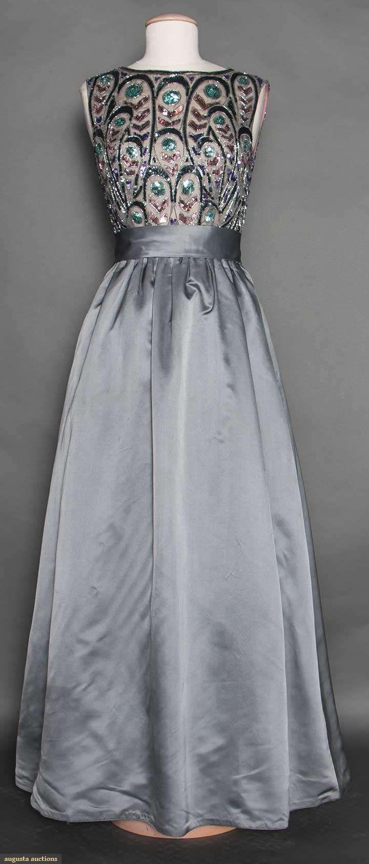 Beaded Grey Satin Ball Gown, C. 1960