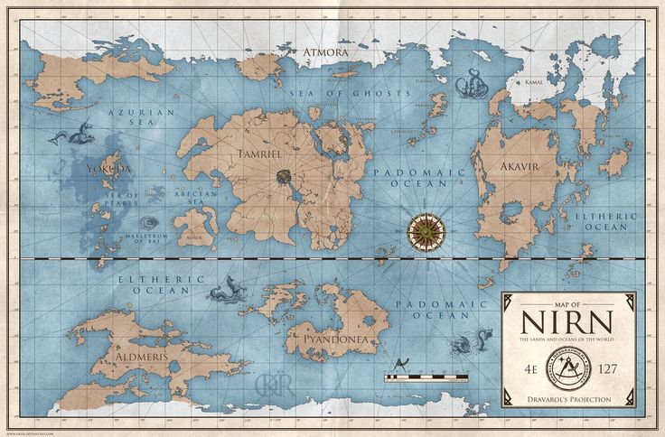 My take on the world map of Nirn (Elder Scrolls), inspired by old naval maps. NOTE: I imagined this map to be made by the Imperial Geographical Society of the Mede Empire, about a century befo...