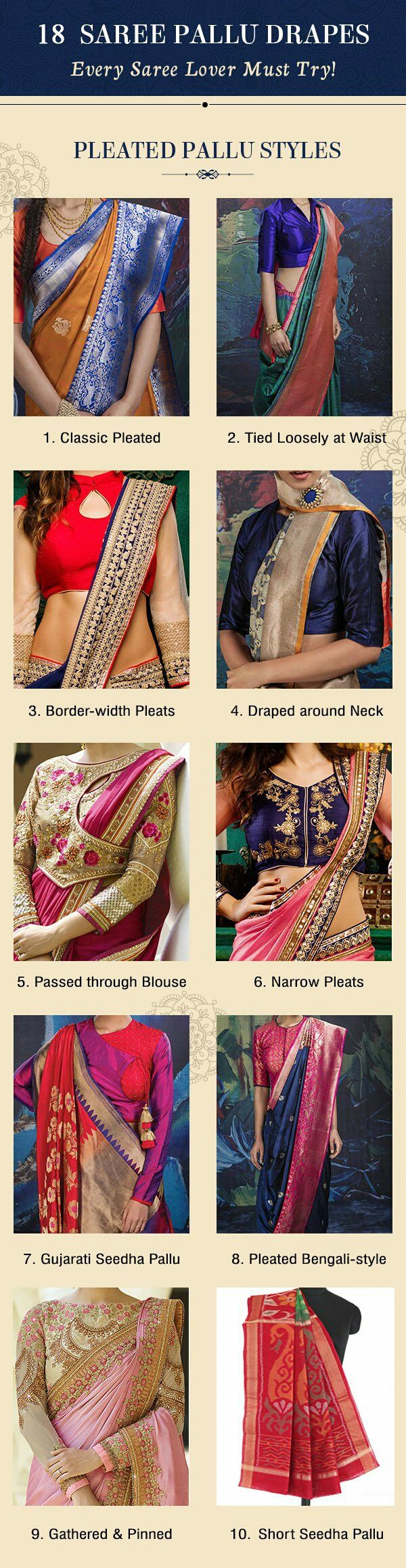 18 Gorgeous Saree Pallu Drapes Style – you must try!