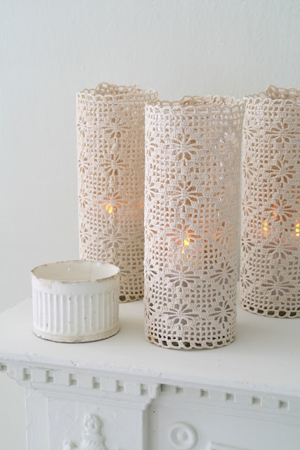 crochet lace covered hurricane candles