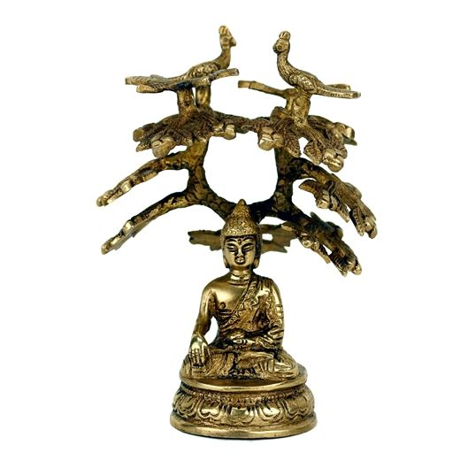Boeddha Shakyamuni onder Bodhiboom - 14 cm -