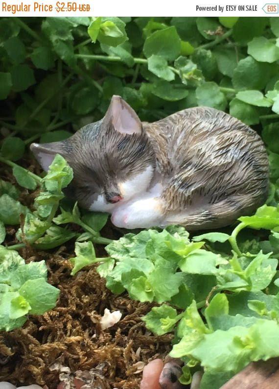 SALE Mini Sleeping Kitten Figurine Gray and White Fairy