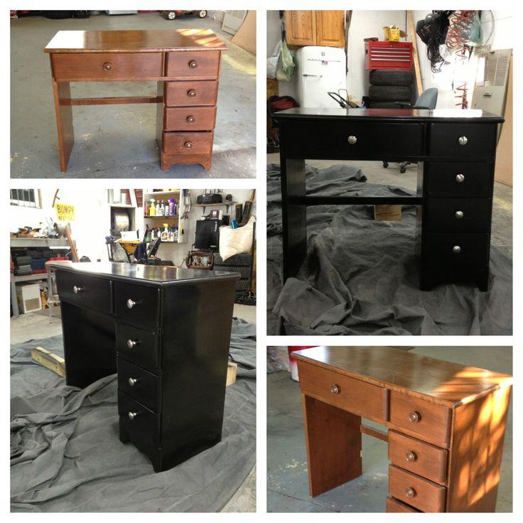 Old desk: sanded & spray painted black. Added new drawer knobs.