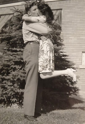 Vintage 1940's Snapshot of WWII Soldier Kissing His Girl Big Time! ~