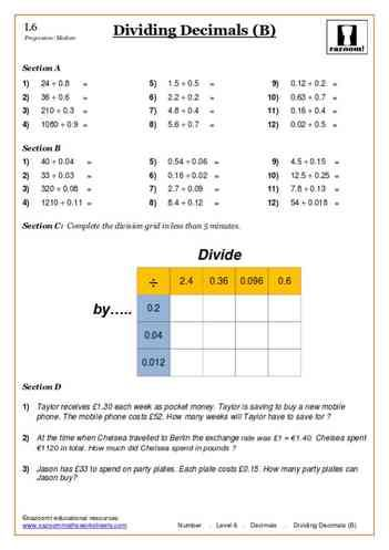 Dividing Decimals (B) Maths Worksheet