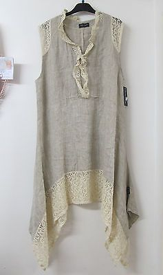 Sarah Santos Lagenlook Beige Linen Lace Tunic Summer Dress Layered Oversized New | eBay