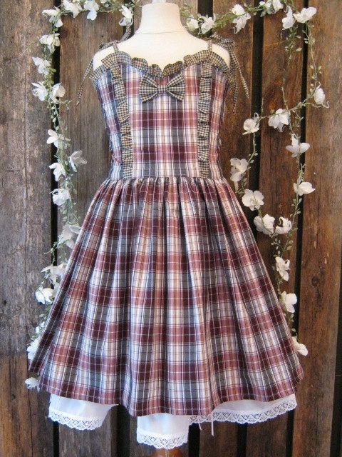 Dress for teens,country. Checkered, pink,white and brown. Western, rustic, fall.