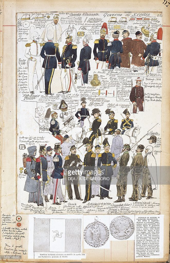Foto stock : Various uniforms of Provisional Government of Sicily by Quinto Cenni, color plate, 1848