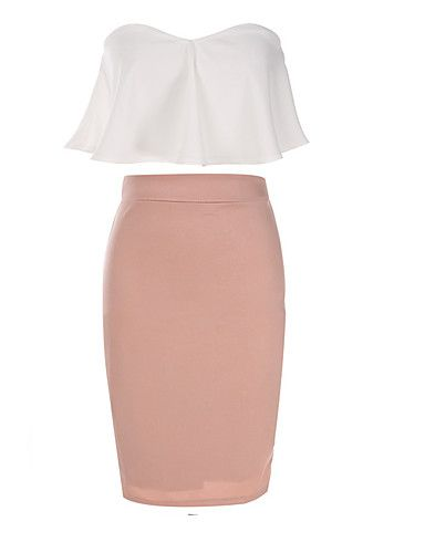 Best color combination of 2016! Elegant cream bandeau top + pearl pink pencil skirt suit at $12.87