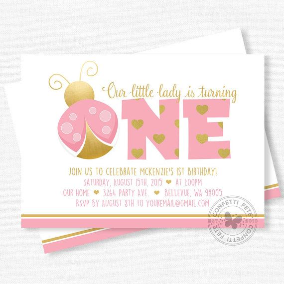 Welcome to Confetti Fete! Our little lady is turning ONE! Invite friends and family to celebrate with this pink and gold, ladybug birthday