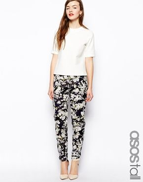 Image 1 of ASOS TALL Pants with High Waist in Floral Print