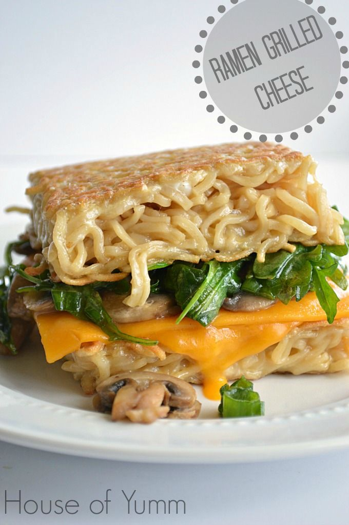 Ramen Grilled Cheese.  No bun..just ramen! This is either disgusting or brilliant. I'll vote after I make one.