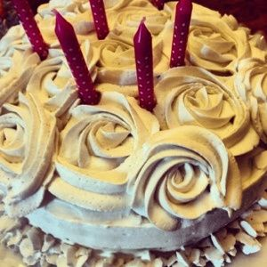 Coconut cream whipped frosting. (I can only do the frosting, but the cake and filling look yum for ppl who can.) :)