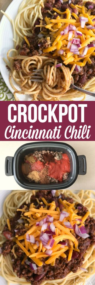 This Crockpot Cincinnati Chili has a blend of Mediterranean seasonings – cumin, cinnamon, allspice, and even cocoa. So many yummy flavors! #crockpot #chili