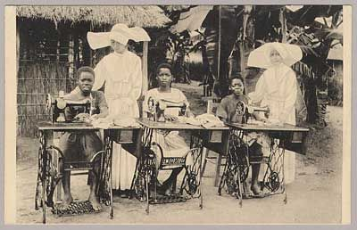 Sewing class in the Mission of the Daughters of Charity, Nsona-Mbata, Belgian Congo || Slide Show