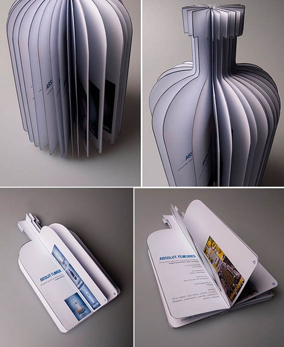 Inspired brochure design for Absolut Vodka. Great use of their now widely recognisable bottle brand.