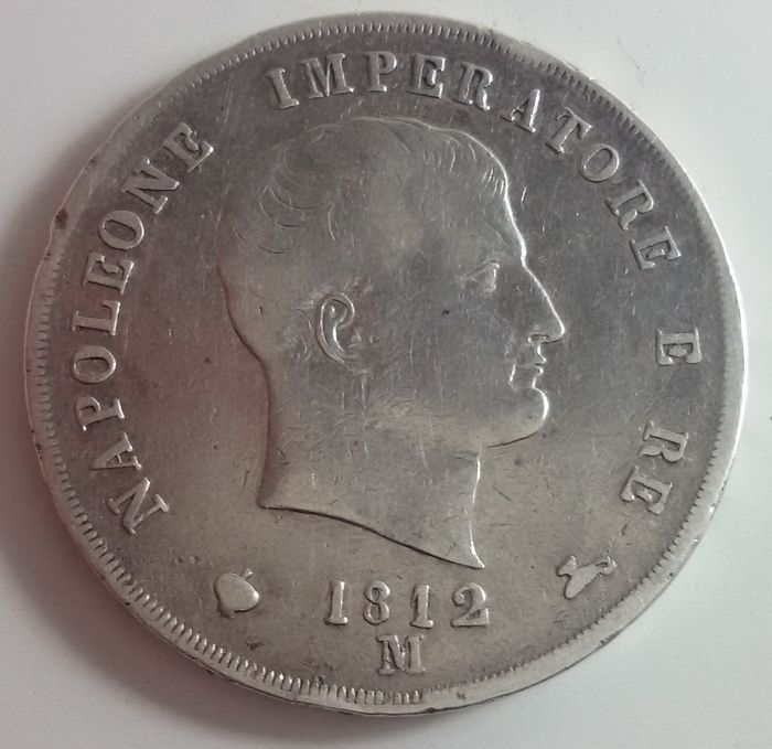 """Catawiki,coins, old coins, regno, stati preunitari, 1800, napoleon, pagina di aste on line  Regno d'Italia - 5 Lire 1812 Milano Napoleone """"puntali sagomati"""" - argento"""