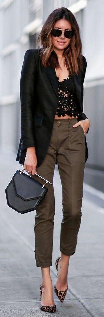 #Street #Fashion | Black Blazer, Black Crochet Crop top, Brown pants, Black Bag, Leo Pointy Pumps |Fashioned CHIC