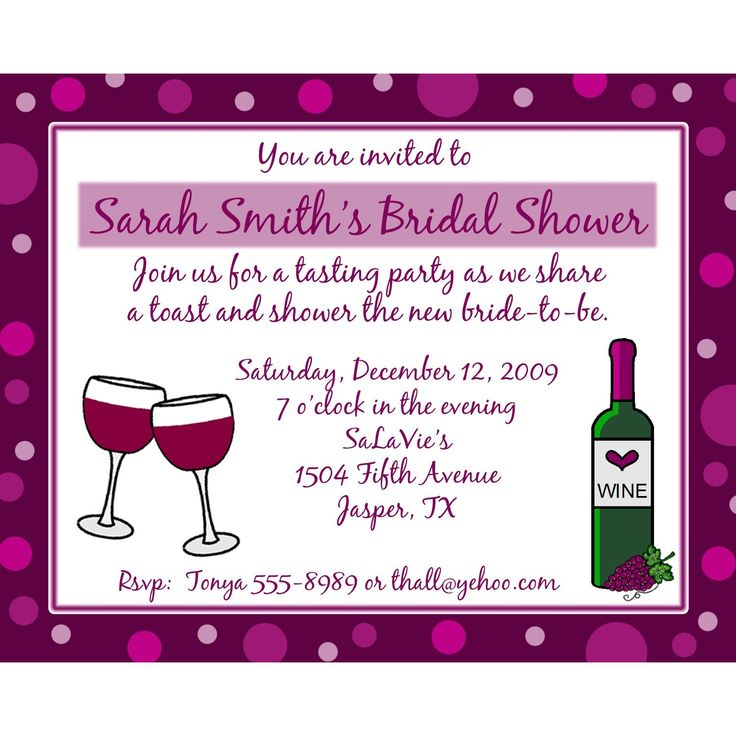 20 Personalized Bridal Shower Invitations WINE THEME. $18.00, via Etsy ...