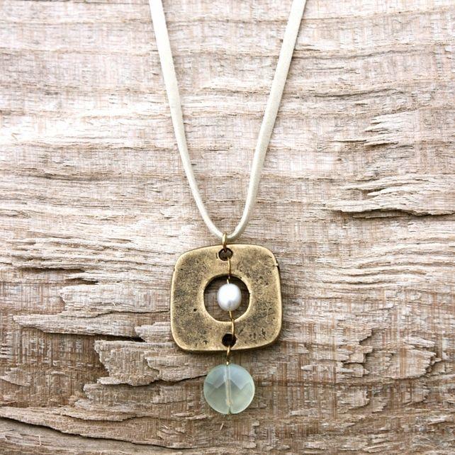 Pearl in Gold Square with Aqua Glass Bead Pendant £15.00