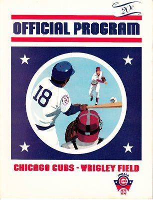 Vintage July 5 1976 Chicago Cubs Official Program . $15.00. Vintage Official Chicago Cubs 1976 ProgramProgram is from the July 5, 1976 GameBetween the Chicago Cubs and the San Diego PadresScorecard in program is neatly scored.WONDERFUL AUTHENTIC CHICAGO CUBS BASEBALL COLLECTIBLE!!
