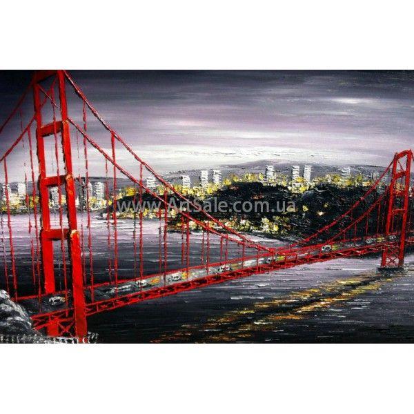 Картина Бруклинский Мост ART: SITY0369, ГОРОДСКОЙ ПЕЙЗАЖ, Городские пейзажи картины, городской пейзаж живопись, городской пейзаж маслом, современный пейзаж, городские картины, городской пейзаж купить