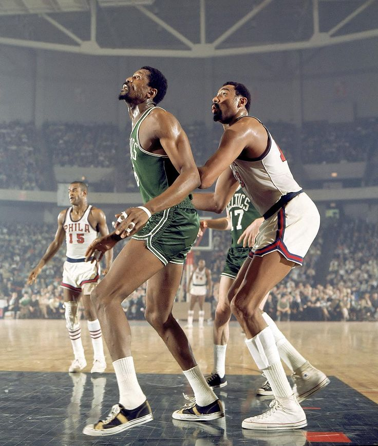 BILL RUSSELL and WILT CHAMBERLAIN |Philadelphia  |  April 5, 1968  |  Photo By Walter Iooss Jr./SI