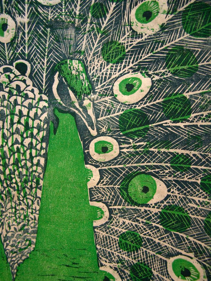 Peacock Woodblock Print by Cloudship on Etsy. Ariel Hansen Strong.