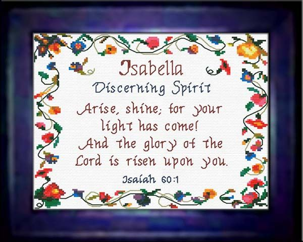Isabella - Name Blessings Personalized Cross Stitch Design from Joyful Expressions