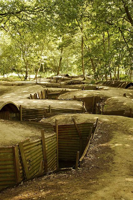 WW1 trenches at Hill 62 and Sanctuary Wood Battle of Ypres taking place in Belgium