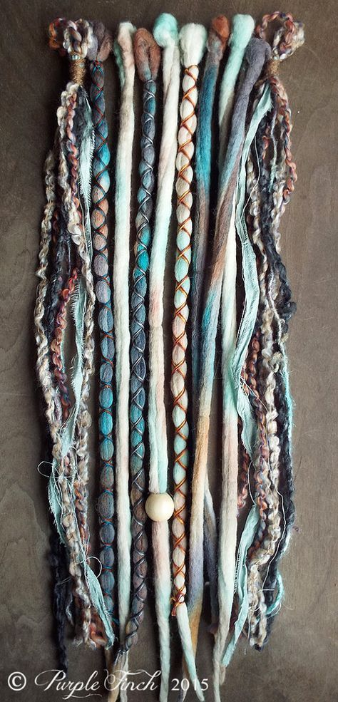 10 Custom Clip In Or Braid In Dreadlock Extensions Color Mix: Mixed Native & Sand Boho Tie Dye Wool Synthetic Dreads Hair wraps and beads