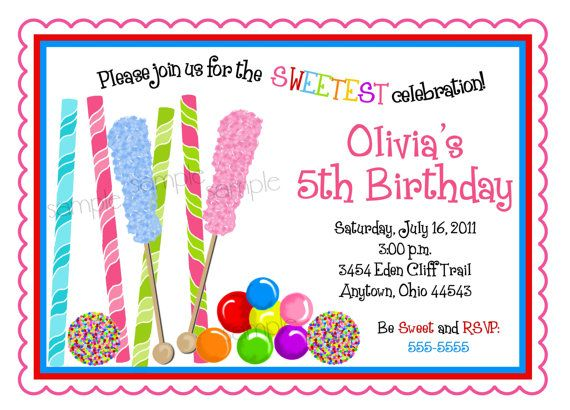 Candyland Birthday Party Invitations, Candy Party ...