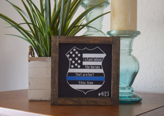 Thin Blue Line Badge Police Officer Badge by TheSunnyNestDecor